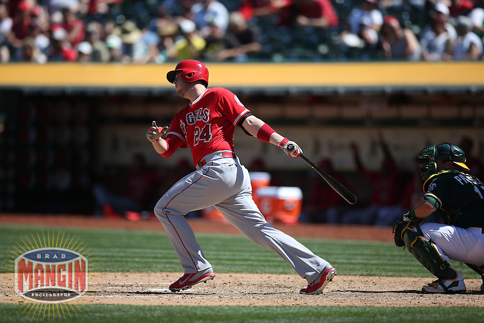 OAKLAND, CA - APRIL 30:  C.J. Cron #24 of the Los Angeles Angels bats against the Oakland Athletics during the game at O.co Coliseum on Thursday, April 30, 2015 in Oakland, California. Photo by Brad Mangin