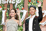 "(L-R) Actor Angelina Jolie and Japanese musician MIYAVI attend a Japan premiere for Disney's ""Maleficent: Mistress of Evil"" on October 3, 2019, in Tokyo, Japan. The movie is a sequel to 2014 hit ""Maleficent"" and will be released on October 18. (Photo by AFLO)"
