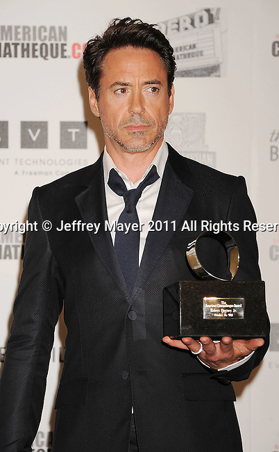 BEVERLY HILLS, CA - OCTOBER 14: Robert Downey, Jr. poses during the The 25th American Cinematheque Award Honoring Robert Downey Jr. at The Beverly Hilton hotel on October 14, 2011 in Beverly Hills, California.