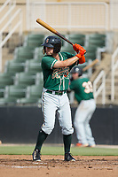 Aaron Knapp (7) of the Greensboro Grasshoppers at bat against the Kannapolis Intimidators at Kannapolis Intimidators Stadium on August 13, 2017 in Kannapolis, North Carolina.  The Grasshoppers defeated the Intimidators 4-1 in 10 innings in the completion of a game suspended on August 12, 2017.  (Brian Westerholt/Four Seam Images)