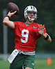 Bryce Petty #9 throws a pass during New York Jets Training Camp at the Atlantic Health Jets Training Center in Florham Park, NJ on Thursday, Aug. 10, 2017.