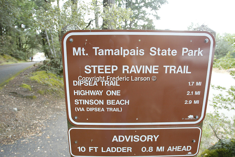 The Dipsea Trail is off Pan Toll Road traveling over Mount Tamalpais on your way to Stinson Beach, California.