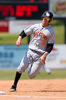 Stephen King (8) of the Hagerstown Suns rounds third base at Fieldcrest Cannon Stadium in Kannapolis, NC, Monday May 26, 2008.