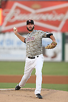 Ray Hanson #32 of the Inland Empire 66ers pitches against the Bakersfield Blaze at San Manuel Stadium on August 21, 2014 in San Bernardino, California. Bakersfield defeated Inland Empire, 4-0. (Larry Goren/Four Seam Images)