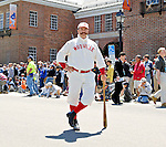"21 May 2007:  The ""Mighty Casey"" character strikes a pose in front of the National Baseball Hall of Fame Museum during the Game Day Parade celebrating the Hall of Fame Game in Cooperstown, NY...Mandatory Credit: Ed Wolfstein Photo"