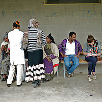 Irish journalist Stephanie Hegarty (first from right) interviews 28 years old health officer employed by Marie Stopes International Temesgen File after performing several sterilization procedures as part of a scheduled visit to the Cholga health center in rural Ethiopia on August 24, 2010.