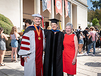 Michael G. Gibby '68 and Barbara J. Gibby '68 with Margi Rusmore, Professor of Geology, named the Michael G. Gibby '68 and Barbara J. Gibby '68 Professor of Science.<br /> The class of 2023 are welcomed to Occidental College by trustees, faculty and staff in Thorne Hall on Aug. 27, 2019 during Oxy's 132th Convocation ceremony, a tradition that formally marks the start of the academic year and welcomes the new class.<br /> (Photo by Marc Campos, Occidental College Photographer)