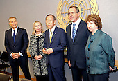 From left to right, United Nations Quartet Envoy Tony Blair, United States Secretary of State Hillary Rodham Clinton, UN Secretary General Ban Ki-moon, Foreign Minister Sergei Lavrov of Russia, and High Representative for Foreign Affairs and Security Policy of the European Union Catherine Ashton pose for a photo after their Middle East Quartet in New York, New York, on September 23, 2011. .Credit: Department of State via CNP