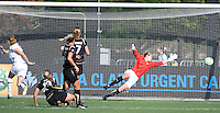 Allison Whitworth dives for a ball that went wide. The Los Angeles Sol defeated FC Gold Pride, 2-0, at Buck Shaw Stadium in Santa Clara, CA on May 24, 2009.
