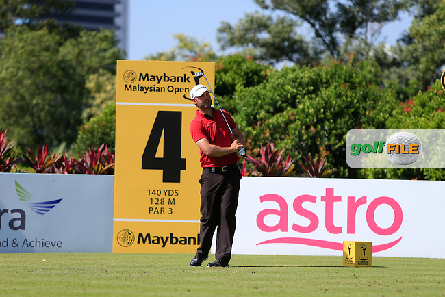Paul Waring (ENG) on the 4th tee during Round 4 of the Maybank Malaysian Open at the Kuala Lumpur Golf &amp; Country Club on Sunday 8th February 2015.<br /> Picture:  Thos Caffrey / www.golffile.ie