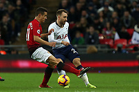 Ander Herrera of Manchester United and Christian Eriksen of Tottenham Hotspur during Tottenham Hotspur vs Manchester United, Premier League Football at Wembley Stadium on 13th January 2019