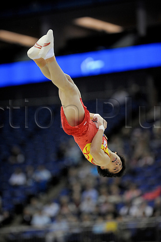 13.10.2009.World Gymnastics Champion ships at the O2 Arena London. Mens Qualifying Competition.zou kai of China in action. Photo: Alan Edwards/Actionplus. ..