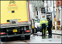 BNPS.co.uk (01202 558833)Pic: LeeMcLean/BNPS<br /> <br /> The accident scene on 29th March, 2018.<br /> <br /> <br /> A 'frustrated' lorry driver mowed down and killed a young boy because he had been distracted by 'sarcastically clapping' another motorist to see lights change, a court heard.<br /> <br /> Dean Phoenix did not notice the red light at a pedestrian crossing that allowed three-year-old Jaiden Mangan to cross in front of him as he was 'swearing and gesticulating' at the time, it is alleged.<br /> <br /> The 44-year-old pulled away to drive around an illegally parked car that was blocking his path and struck Jaiden who was riding a balance bike.<br /> <br /> The youngster suffered severe head injuries and died later in hospital. <br /> <br /> Phoenix is on trial for causing death by dangerous driving.