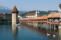 Switzerland, Canton Lucerne: Chapel Bridge, Water Tower, Jesuit Church and Pilatus mountain