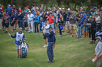 Matt Kuchar (USA) acknowledges the gallery after a tight chip shot on 9 during Round 2 of the Valero Texas Open, AT&T Oaks Course, TPC San Antonio, San Antonio, Texas, USA. 4/20/2018.<br /> Picture: Golffile | Ken Murray<br /> <br /> <br /> All photo usage must carry mandatory copyright credit (© Golffile | Ken Murray)