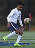 Jai Narain #13 of The Stony Brook School settles a pass near midfield during the PSAA varsity boys soccer final against Long Island Lutheran at Cantiague Park in Hicksville on Friday, Oct. 26, 2018. He scored a game-tying goal early in the second half. Stony Brook went on to win 2-1 to claim the league championship.