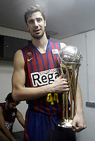 FC Barcelona Regal's Ante Tomic celebrates the victory in the Spanish Basketball King's Cup Final match.February 07,2013. (ALTERPHOTOS/Acero)