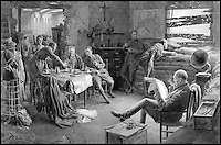 BNPS.co.uk (01202 558833)<br /> Pic: FortuninoMataniaR.I./Christies/BNPS<br /> <br /> ***Use Full Byline***<br /> <br /> British officers relaxing in the Ypres Salient, drawn by Fortunino Matania R.I..<br /> <br /> Original art work chronicling major historical moments in British history that was for the world's first illustrated magazine is being sold at auction.<br /> <br /> The colourful drawings were for the front pages of The Illustrated London News and depict key events in the 20th century including the Royal wedding of Queen Elizabeth II and Phillip Mountbatten.<br /> <br /> Other moments in history illustrated include the coverage of both world wars and the Festival of Britain.<br /> <br /> The work is being sold by auctioneers Christie's in October