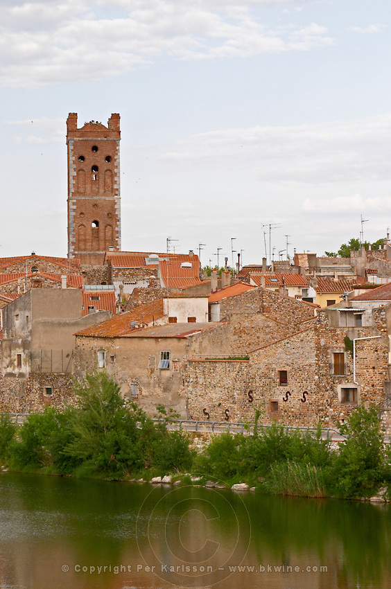 The village on the Agly river. Church tower. Rivesaltes town, Roussillon, France