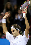 Switzerland's Roger Federer celebrates after winning his Madrid Masters Series tennis tournament against Chile's Fernando Gonzalez at Madrid Arena, Saturday 21 October, 2006. (ALTERPHOTOS/Alvaro Hernandez).