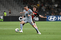 1st January 2020; Bankwest Stadium, Parramatta, New South Wales, Australia; Australian A League football, Western Sydney Wanderers versus Brisbane Roar; Roy O'Donovan of Brisbane Roar holds the ball up as Patrick Ziegler of Western Sydney Wanderers challenges - Editorial Use