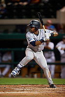 Tampa Tarpons right fielder Isiah Gilliam (24) at bat during a game against the Lakeland Flying Tigers on April 5, 2018 at Publix Field at Joker Marchant Stadium in Lakeland, Florida.  Tampa defeated Lakeland 4-2.  (Mike Janes/Four Seam Images)