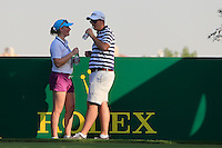 Kate Whyte and Alan Lowry on the 18th tee during the preview for the DP World Tour Championship at the Earth course,  Jumeirah Golf Estates in Dubai, UAE,  18/11/2015.<br /> Picture: Golffile | Thos Caffrey<br /> <br /> All photo usage must carry mandatory copyright credit (© Golffile | Thos Caffrey)