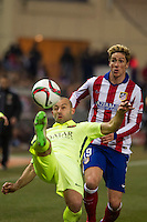 Atletico de Madrid´s Fernando Torres and Barcelona´s Javier Mascherano during 2014-15 Spanish King Cup match between Atletico de Madrid and Barcelona at Vicente Calderon stadium in Madrid, Spain. January 28, 2015. (ALTERPHOTOS/Luis Fernandez) /nortephoto.com<br />