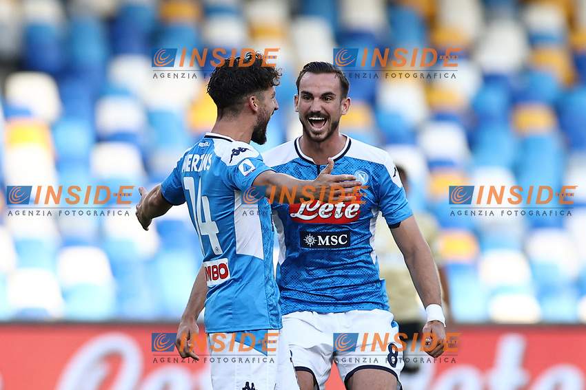 Dries Mertens of Napoli celebrates with  Fabian Ruiz <br /> during the Serie A football match between SSC  Napoli and SPAL at stadio San Paolo in Naples ( Italy ), June 28th, 2020. Play resumes behind closed doors following the outbreak of the coronavirus disease. <br /> Photo Cesare Purini / Insidefoto