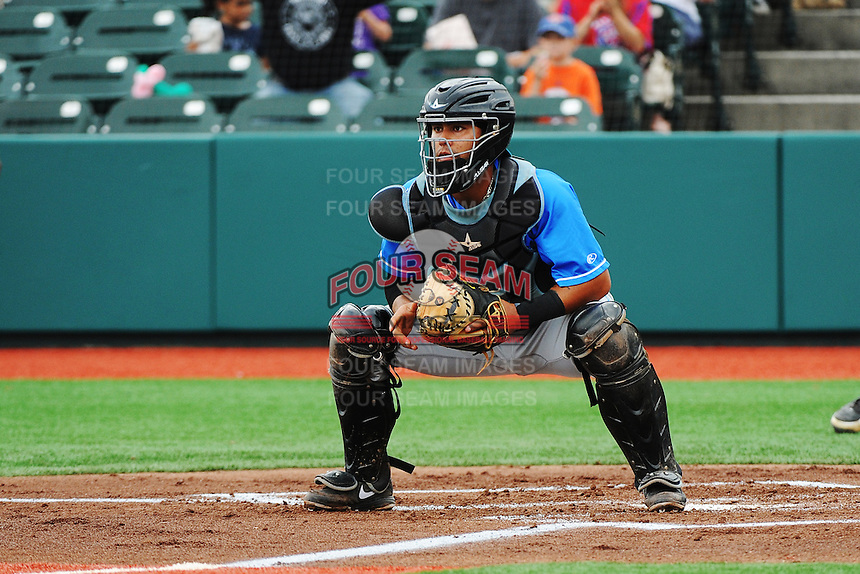 Hudson Valley Renegades catcher Omar Narvaz (24) during game against the Brooklyn Cyclones at MCU Park on July 28, 2013 in Brooklyn, NY.  Brooklyn defeated Hudson Valley 4-2.  Tomasso DeRosa/Four Seam Images