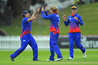 Auckland's Anna Peterson celebrates catching Wellington's Caitlin King during the women's Hallyburton Johnstone Shield cricket match between the Wellington Blaze and Auckland Hearts at Basin Reserve in Wellington, New Zealand on Sunday, 17 November 2019. Photo: Dave Lintott / lintottphoto.co.nz