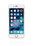 Gold white Apple iPhone 6 6s with desktop icons on its blue display isolated on white background with clipping path
