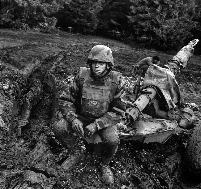 A French foreign legionaire with the Rapid Reaction Force protecting UN forces during the Bosnian civil war.&amp;#xD;Mount Ingman, Bosnia, September 1995&amp;#xD;<br />