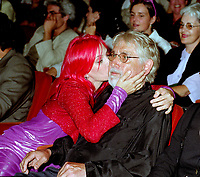 Montreal (QC)CANADA - File Photo- August 29 1996-<br /> Chloee Sainte-Marie and Gilles Carle for the premiere of PUDDING CHOMEUR at the Montreal World Film Festival.