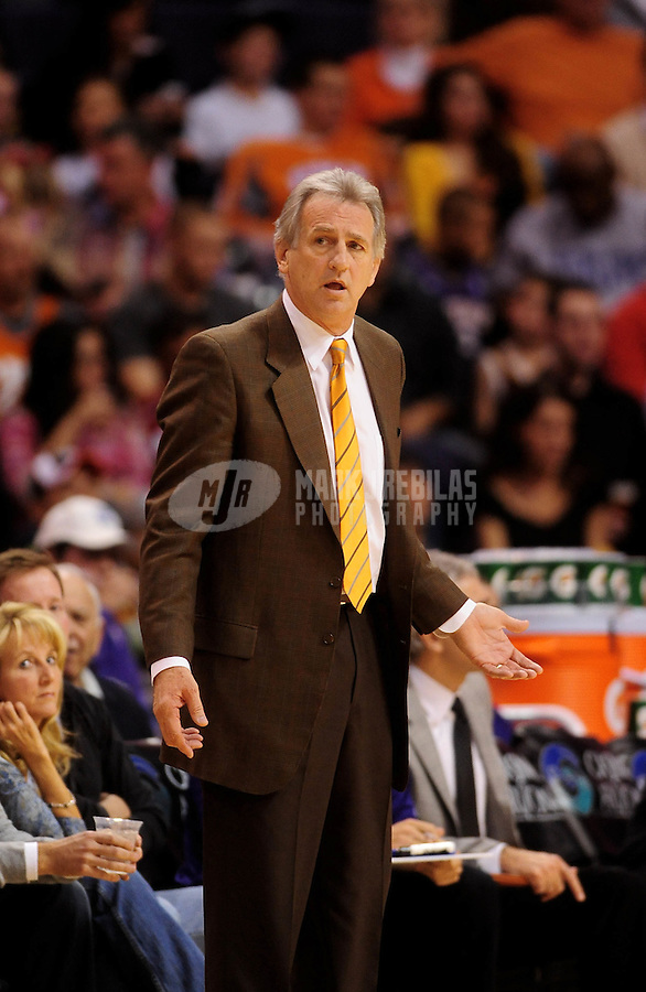 Dec. 5, 2009; Phoenix, AZ, USA; Sacramento Kings head coach Paul Westphal against the Phoenix Suns at the US Airways Center. The Suns defeated the Kings 115-107. Mandatory Credit: Mark J. Rebilas-