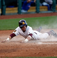 Jason Kipnis - 2009 Arizona State Sun Devils .Photo by:  Bill Mitchell/Four Seam Images.Kipnis slides safely across home plate in a game against the Kansas Jayhawks at Surprise Stadium - 03/15/2009