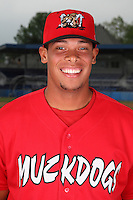 Batavia Muckdogs Infielder Jonathan Rodriguez (28) poses for a photo before minicamp team practice at Dwyer Stadium in Batavia, New York June 14, 2010.   Photo By Mike Janes/Four Seam Images