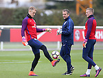 England's Joe Hart and Jordan Pickford during training at Tottenham Hotspur training centre, London. Picture date November 14th, 2016 Pic David Klein/Sportimage