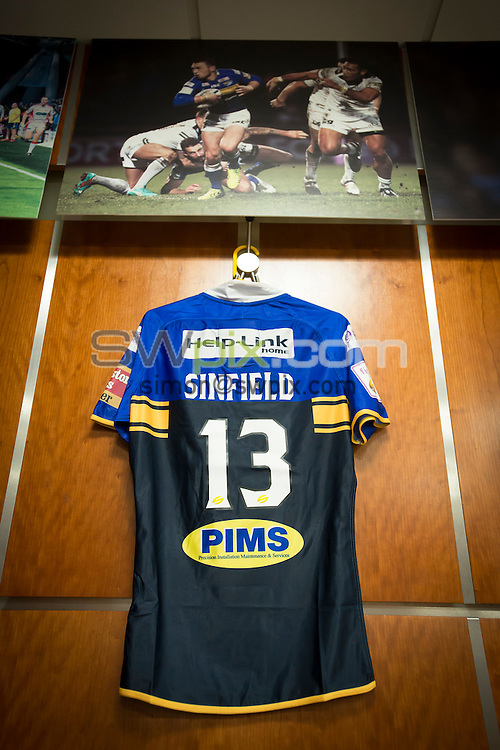 Picture by Allan McKenzie/SWpix.com - 10/10/2015 - Rugby League - First Utility Super League Grand Final - Leeds Rhinos v Wigan Warriors - Old Trafford, Manchester, England - kevin Sinfield's shirt, dressing room.