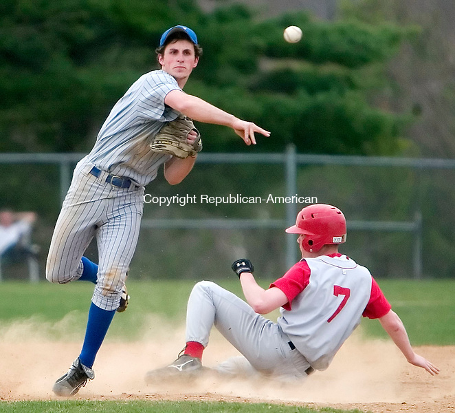 BURLINGTON, CT- 23 APRIL 07- 042307JT05-<br /> Lewis Mills' Ty Morin throws the ball to first after making an out at second as Wamogo's Tim Staino slides in during Monday's game at Lewis Mills.<br /> Josalee Thrift Republican-American