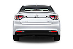 Straight rear view of 2016 Hyundai Sonata Hybrid SE 4 Door Sedan Rear View  stock images