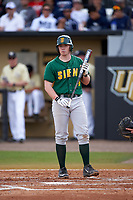 Siena Saints second baseman Jordan Bishop (4) at bat during a game against the UCF Knights on February 21, 2016 at Jay Bergman Field in Orlando, Florida.  UCF defeated Siena 11-2.  (Mike Janes/Four Seam Images)