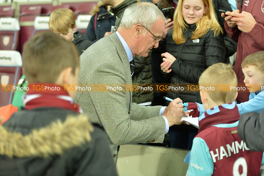 Fulham Manager Claudio Ranieri happy to sign autographs for young West Ham Fans during West Ham United vs Fulham, Premier League Football at The London Stadium on 22nd February 2019