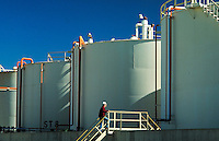 Storage tanks at chemical plant. Wichita Kansas, Vulcan Chemical Plant.