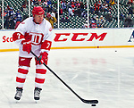 31 December 2013: Former Detroit Red Wings forward Red Berenson (7) skates during warmups before the Toronto Maple Leafs v Detroit Red Wings Alumni Showdown hockey game, at Comerica Park, in Detroit, MI.