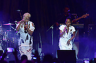 "Largo, MD - July 12, 2014: Rozonda ""Chilli"" Thomas (r) and Tionne ""T-Boz"" Watkins, of the Grammy award winning group TLC, performs at the 1st annual International Festival at the Largo Town Center in Largo, MD, July 12, 2014. The group is known for its hit songs ""Creep"" and ""Scrubs."" (Photo by Don Baxter/Media Images International)"