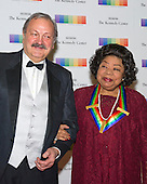 Martina Arroyo and guest arrive for the formal Artist's Dinner honoring the recipients of the 38th Annual Kennedy Center Honors hosted by United States Secretary of State John F. Kerry at the U.S. Department of State in Washington, D.C. on Saturday, December 5, 2015. The 2015 honorees are: singer-songwriter Carole King, filmmaker George Lucas, actress and singer Rita Moreno, conductor Seiji Ozawa, and actress and Broadway star Cicely Tyson.<br /> Credit: Ron Sachs / Pool via CNP