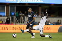 San Jose, CA - Saturday July 28, 2018: Anibal Godoy, Sunday Stephen during a Major League Soccer (MLS) match between the San Jose Earthquakes and Real Salt Lake at Avaya Stadium.