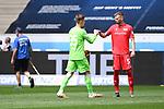 Torwart Moritz Nicolas (Union Berlin, l.) klatscht vor dem Spiel mit Marvin Friedrich (Union Berlin, r.) ab.<br /> <br /> Sport: Fussball: 1. Bundesliga: Saison 19/20: 33. Spieltag: TSG 1899 Hoffenheim - 1. FC Union Berlin, 20.06.2020<br /> <br /> Foto: Markus Gilliar/GES/POOL/PIX-Sportfotos<br /> <br /> Foto © PIX-Sportfotos *** Foto ist honorarpflichtig! *** Auf Anfrage in hoeherer Qualitaet/Aufloesung. Belegexemplar erbeten. Veroeffentlichung ausschliesslich fuer journalistisch-publizistische Zwecke. For editorial use only. DFL regulations prohibit any use of photographs as image sequences and/or quasi-video.