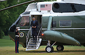 United States President Barack Obama returns to the White House following a day trip to Flint, Michigan, on the South Lawn of the White House in Washington, D.C. on May 4, 2016. <br /> Credit: Kevin Dietsch / Pool via CNP